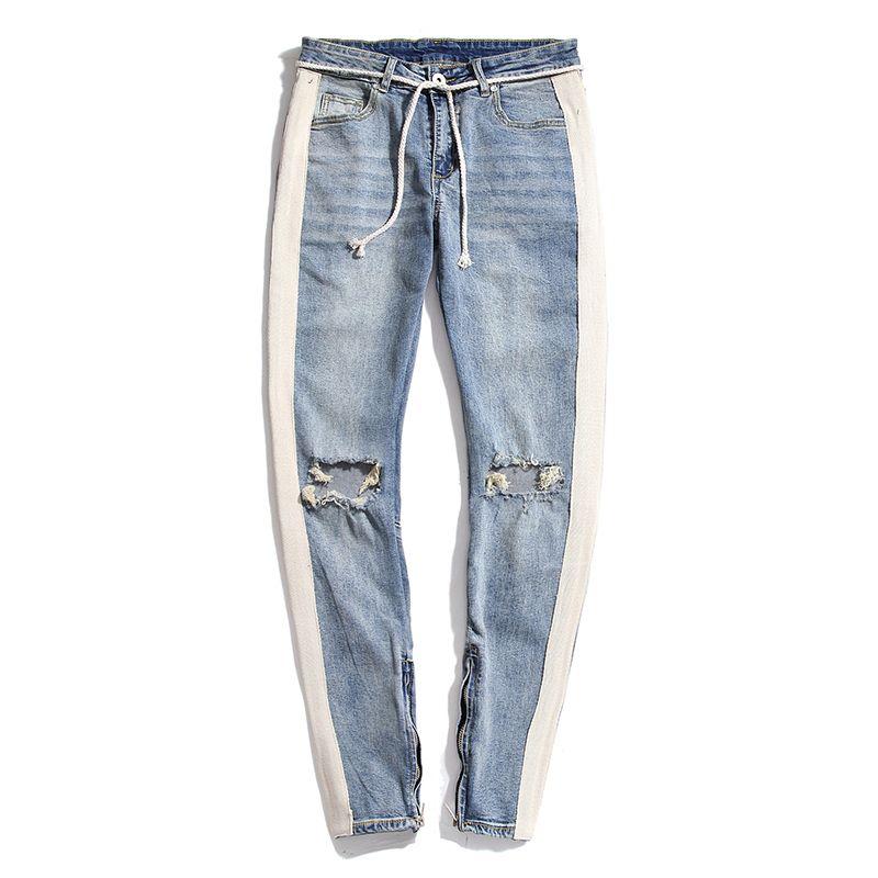 Moda Jeans Mens Mens estilista magro rasgado listrada branca Jeans Mens estiramento Magro cordão Biker Jeans Preto Azul