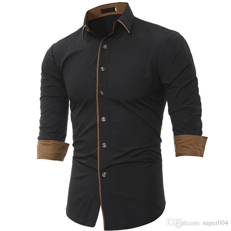 Erkekler Gömlek 2018 İlkbahar Yeni Marka İş Erkekler Fit Elbise gömlek Erkek Uzun Casual Gömlek camisa masculina Boyut M-3XL Q kollu