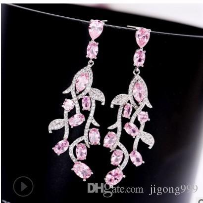 2paris / lots Qualität des niedrigen Preises Großhandel Diamantkristall Schmuck Stein 925 earings Größe Silber Dame (5.7 * 1.8cm) up-market