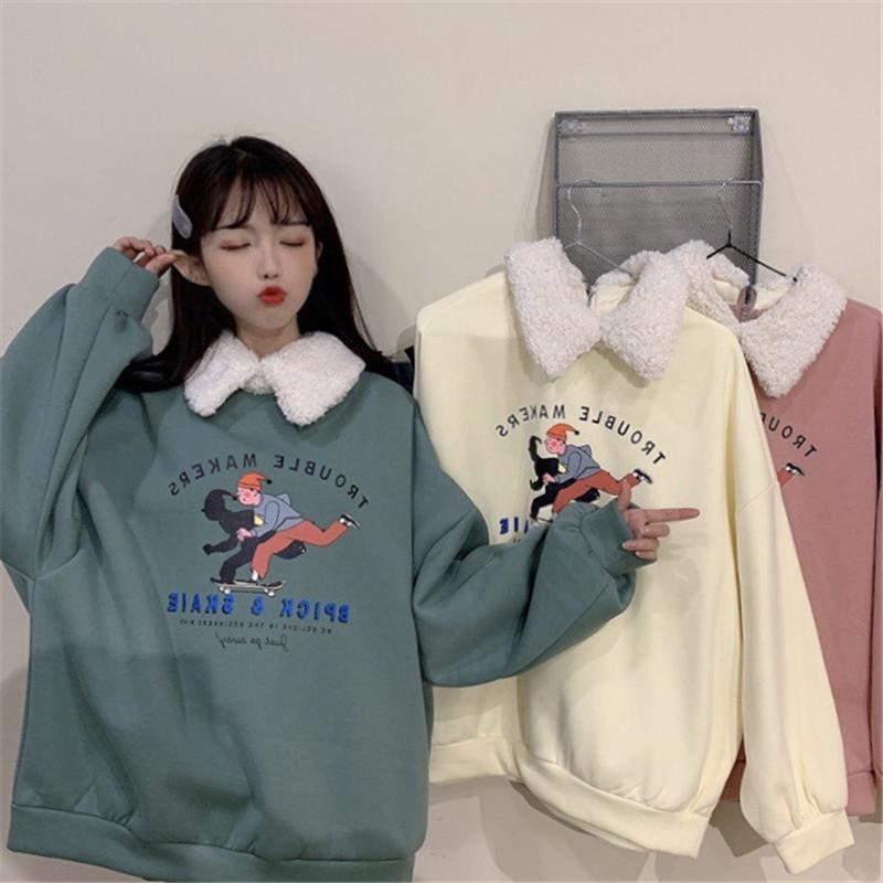 Sweatshirt Hoodies Women Ropa Mujer Clothes Oversized Hoodie Harajuku Korean Style Lamb Hoody Printe Cartoon Long Sleeve 2019