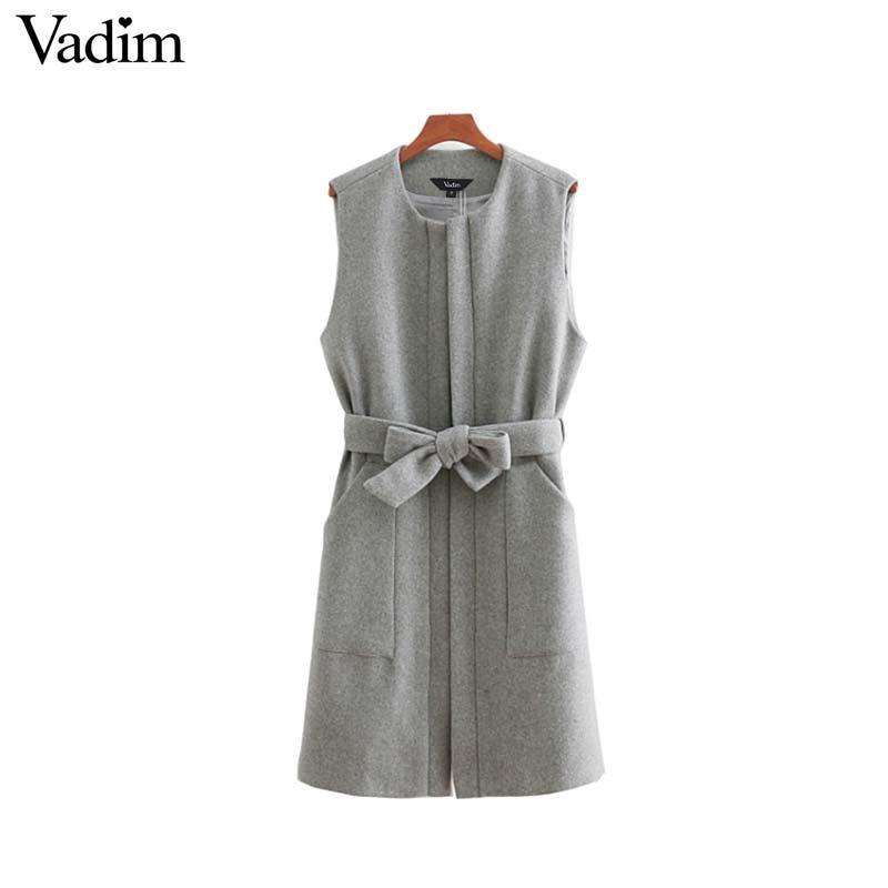 Commercio all'ingrosso delle donne senza maniche abito di lana papillon cintura tasche solido ofifce lady caldo casual abiti dritti Vestidos mujer QA672