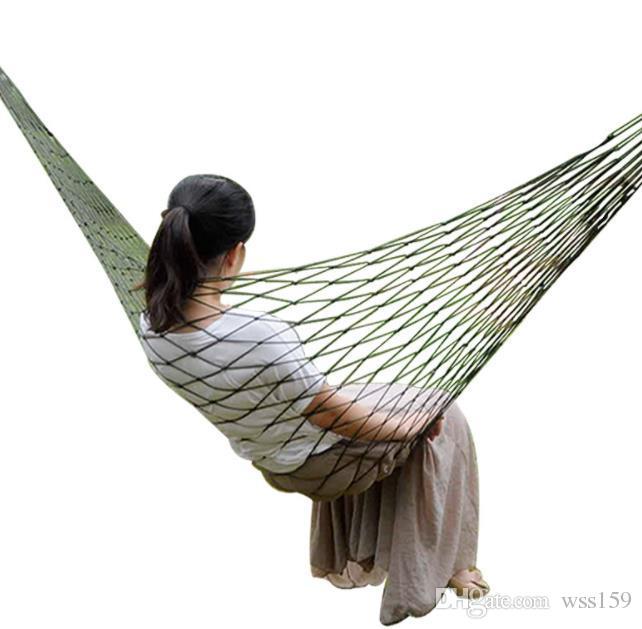Taşınabilir Bahçe Naylon Hamak swingHang Mesh Net Açık Seyahat Kamp hamak için Uyku Uyku Yatak hamaca mavi yeşil kırmızı hamac