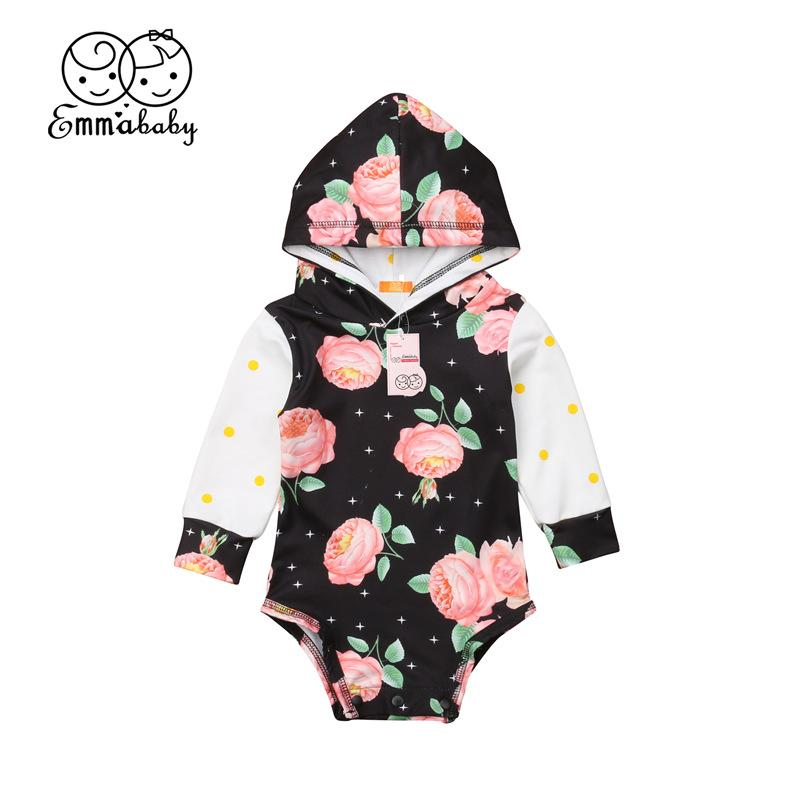 Baby Floral Hooded Long Sleeve Hoodie Bodysuit Newborn Babies Girls Casual Flower One Piece Hooded Outfits Clothes 0-24M