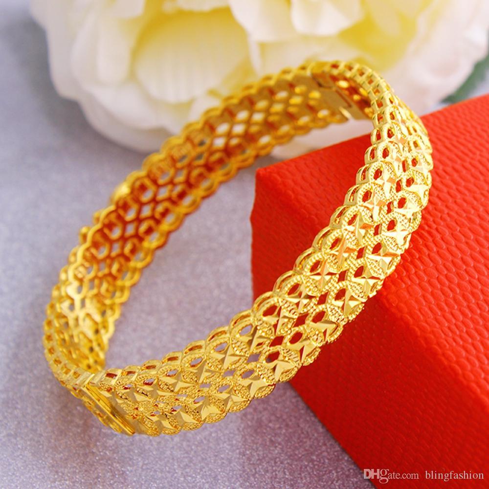 Moda Hollow Bileklik Bayan Takı 18k Sarı Altın Dolgulu Klasik Stil Bayan Bilezik doğum günü partisi Hediye