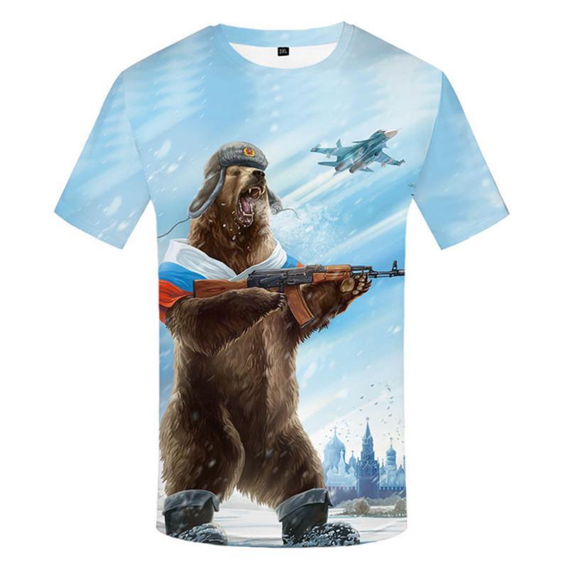 Marke Russland T -Shirt Bär Shirts Krieg Tshirt Der Militärkleidung Gun Tees Tops Männer 3d T-Shirt Designer T cool Größe S-4XL