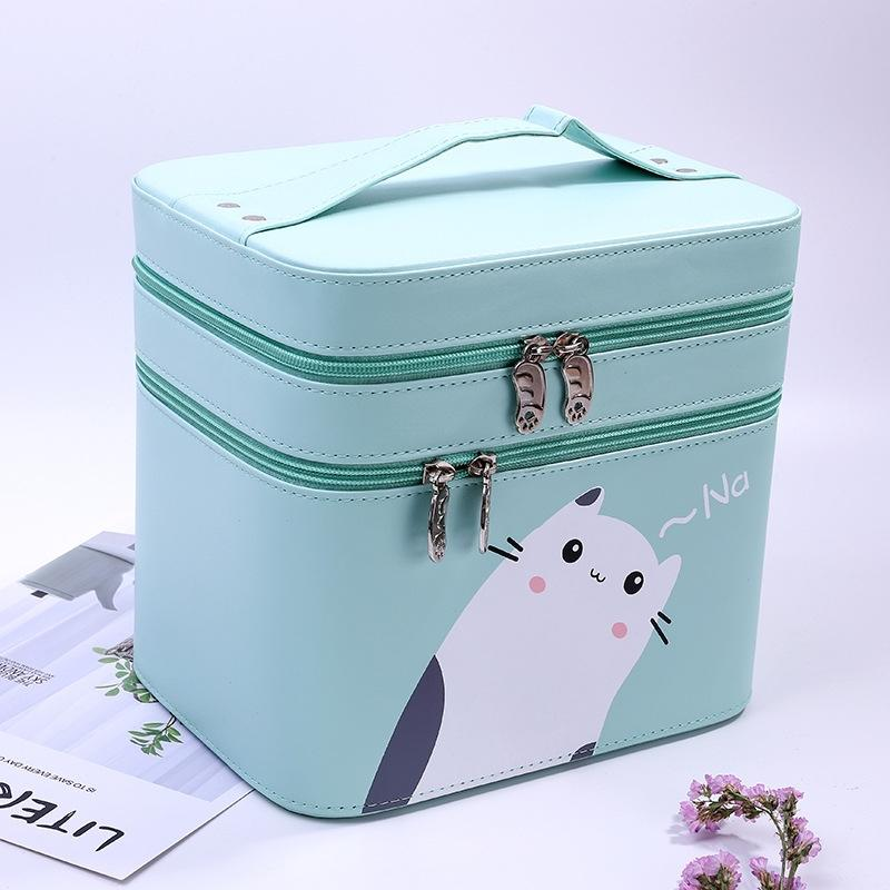 New Style PU Leather Cartoon Portable Cosmetic Case Large Capacity Travel Washed Cosmetic Bag Double Layer Fixed Storgage Bag Other Home Sto