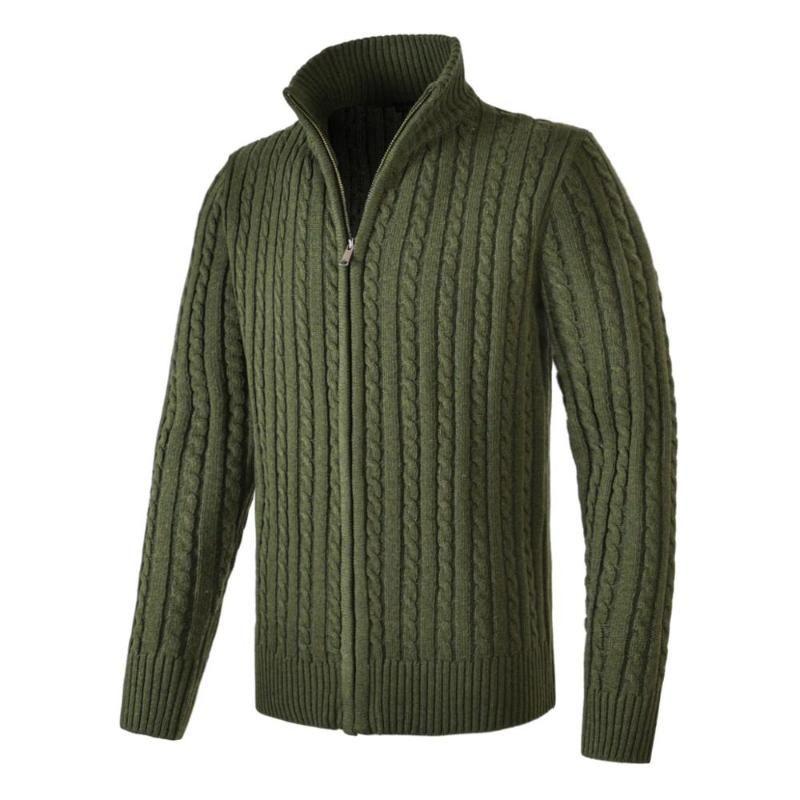 VOBOOM Wool Blend Sweater Full Zipper Cardigan Mens Fisherman Mock Neck Long Sleeve Sweaters with Ribbing Edge 190
