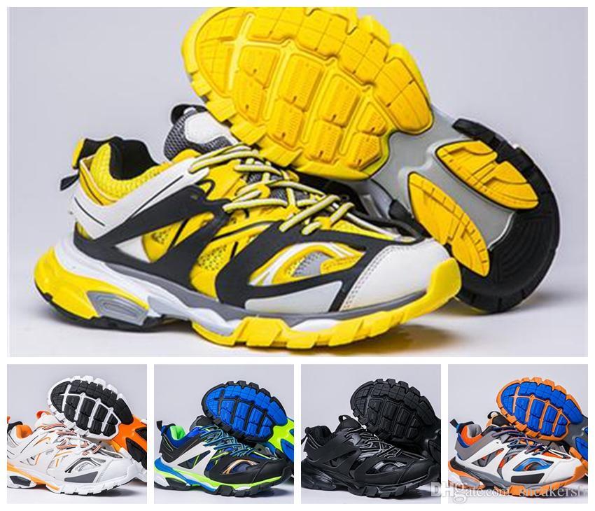 Balenciaga 2019 Paris Triple S Track 3.0 Gris Orange Jaune Hommes Femmes Chaussures de course Chaussures de sport Sneakers Tess S. Gomma Trek Baskets Hommes