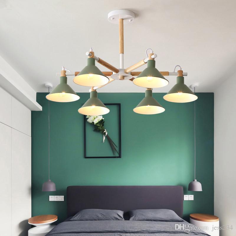 Твердые люстры Вуд LED для гостиной цвета Спальня абажур Nordic Стиль Surface Mount Е27 Лампы освещения Светильники