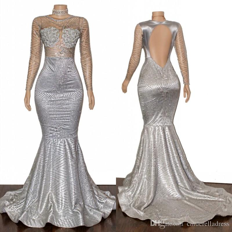 2020 Sparkly Silver Sexy Long Sleeves Prom Dresses Bateau Mermaid Backless Reflective Evening Gowns