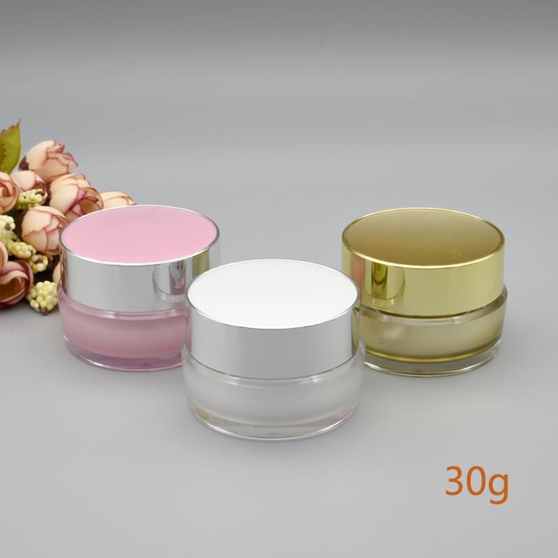 5G 10G 20G 30G الأبيض الذهب الوردي إفراغ إعادة الملء كريم الاكريليك جرة بلاستيكية مستحضرات التجميل زجاجة التعبئة ل20PCS ماكياج المنتج / الكثير