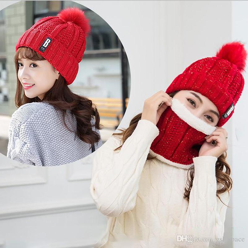Unisex Trendy Şapkalar Kış Örme Kürk Poms Beanie Etiket Fedora Lüks Kablo Hımbıl Kafatası Kapaklar Moda Eğlence Beanie Açık Şapkalar