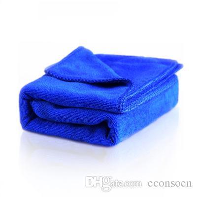 4pcs Cor Azul Cuidados Car Wash Polimento toalhas felpudas microfibra lavagem secagem toalha Forte Grosso Plush Poliéster Fiber Car pano de limpeza