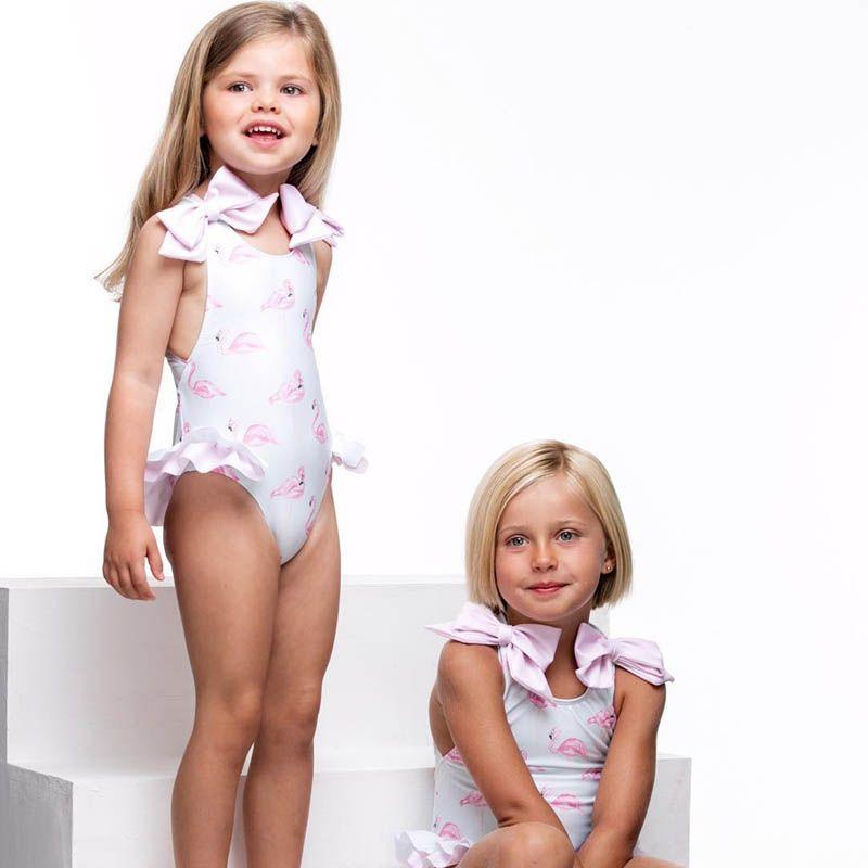 2019 nuevo traje de baño de los niños flamenco arcos de las muchachas linda del traje de baño de una sola pieza juegos de las muchachas del bikini baño con niños Niño establece ropa de playa del traje de baño del bebé A4390