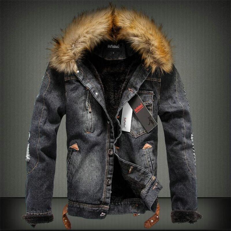 الشتاء رجل سميكة جاكيتات الأزياء طويلة الأكمام الدنيم معاطف مع الفراء الأزياء عارضة رجل جينز دافئ أبلى