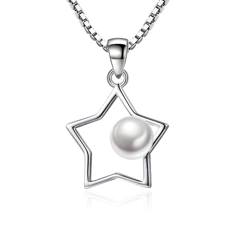 Silver Color Fashion Imitation Pearl Star Design Pendant Necklaces Box Chain for Women Jewelry Wedding Gift Wholesale J68