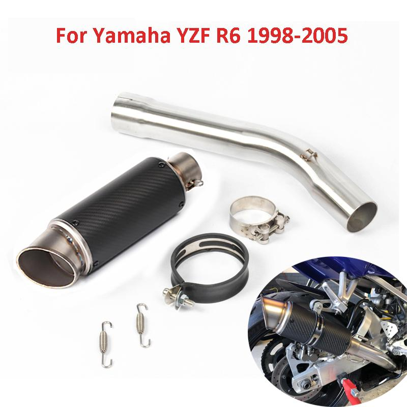Motorcycle Exhaust R6 Muffler Tip Escape 51mm Middle Mid Link Pipe Connector Section Tube for YZF R6 1998-2005