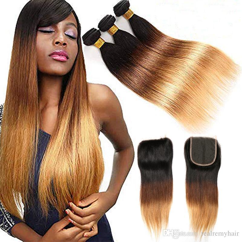 1B 4 27 Ombre louro Direto Virgin brasileiro Pacotes de cabelo com Encerramento Weave 3 Tone Cabelo Humano 3 pacotes com fecho de 4 * 4 Lace