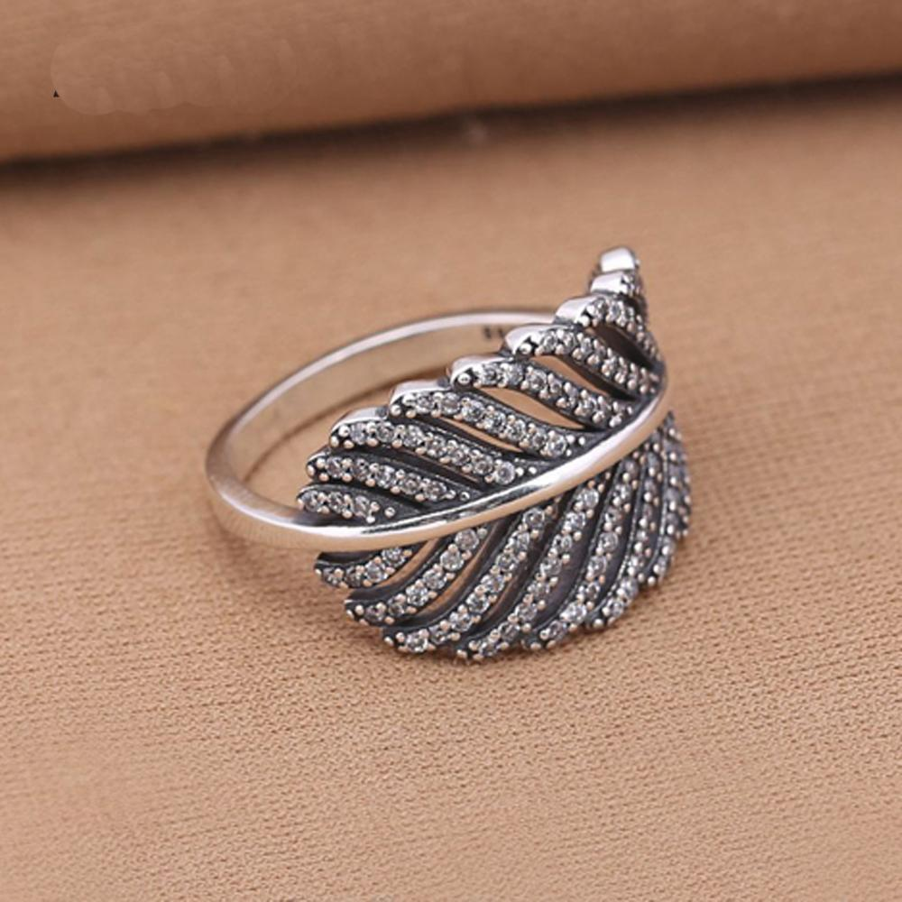 Authentic 925 Sterling Silver Rings Light As A Feather, Clear Cz Wedding Ring Fashion Jewelry Compatible With European J190627