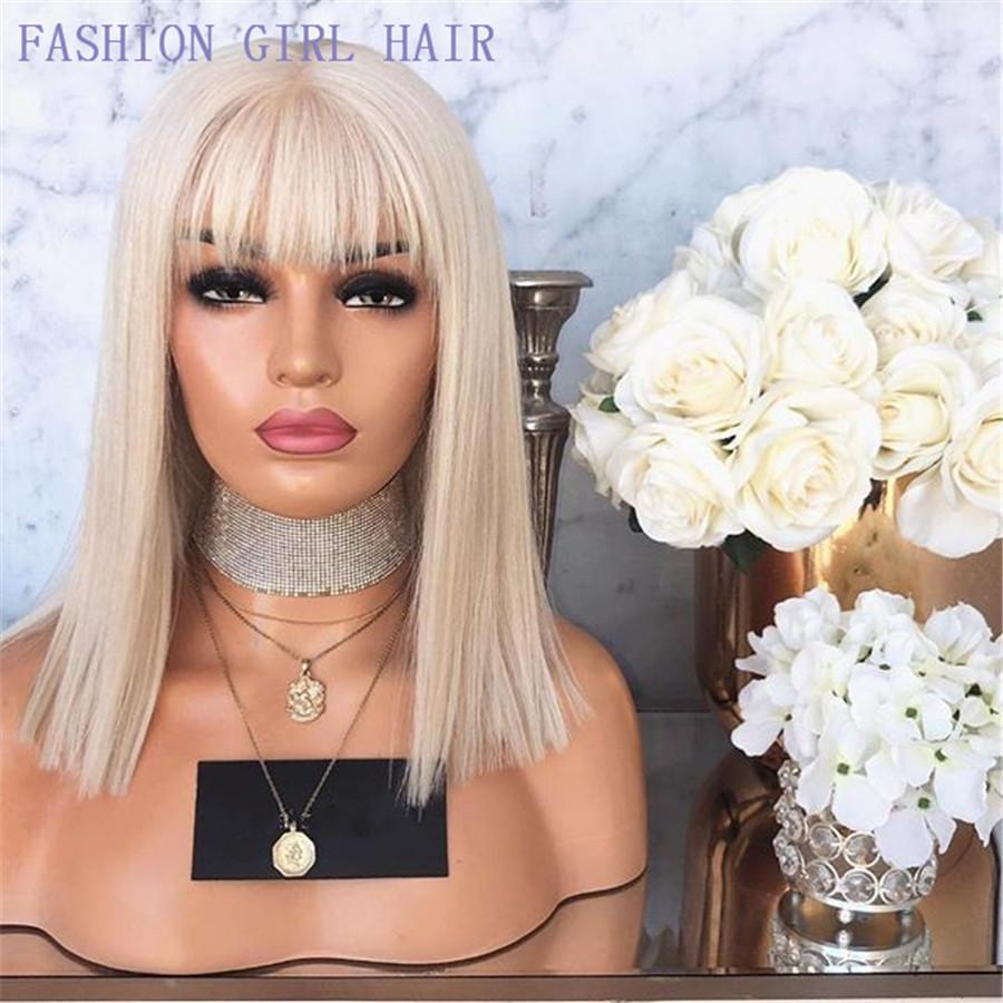 Short Cut 13X4 Bob Lace Front simulation Human Hair Wig with Bangs Blonde Color Synthetic Lace Front Wigs For White Woman