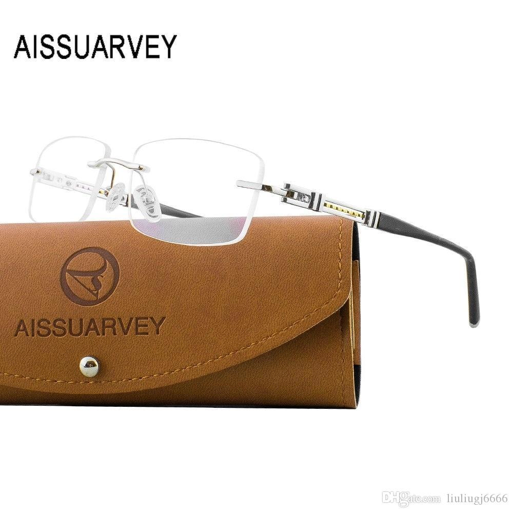 Titanio senza orlo degli occhiali per occhiali di design uomini di affari di marca con lenti trasparenti Acetate Eyewear prescrizione Telaio