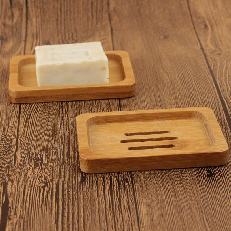 Bamboo Wood Soap Holder Dish Bathroom Shower Plate Stand Storage Box Rack