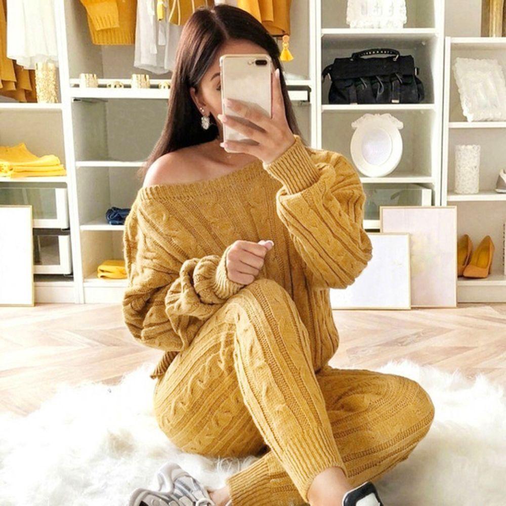 Mulheres 2 peças conjunto de natal tracksuit outono inverno de malha conjunto senhoras o pescoço pulôver cor sólida cor tops + calças definida outfit y200701