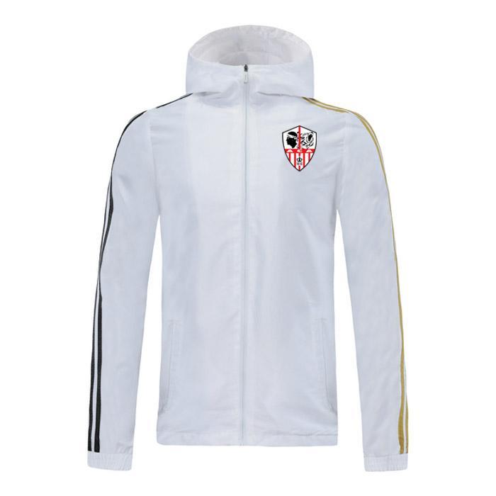 2020 Ajaccio futebol jaqueta com capuz zipper Windbreaker mens futebol jaqueta corta-vento Top zipper hoodie do Sportswear Correndo Jackets