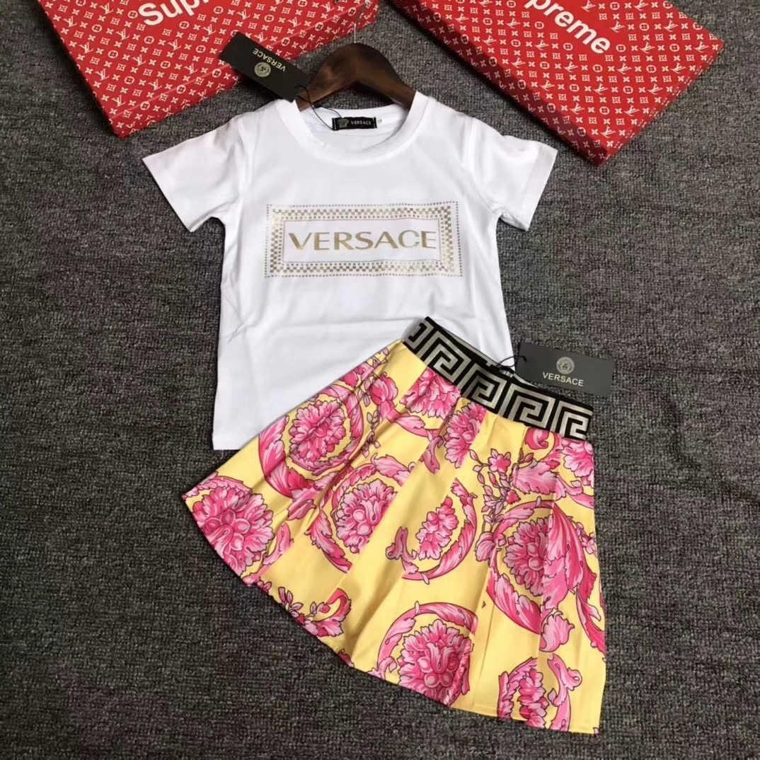 패션 2020 새로운 고양이 여름 여자 여자 짧은 소매 달콤한 공주 드레스 아이 귀여운 드레스 아기 의류는 011,111 설정