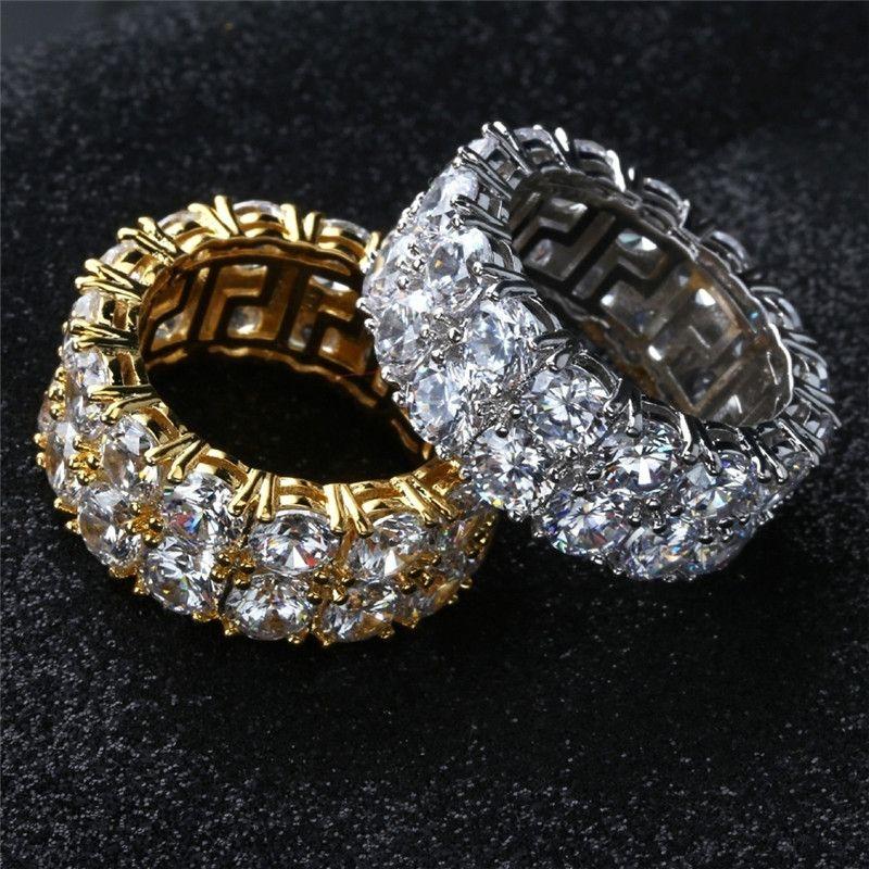 Nefis 18 K Sarı Altın / 925 Ayar Gümüş Çift Sıra Pırlanta Zirkonya Yüzük erkek ve kadın Düğün Yüzük Boyutu 5-12
