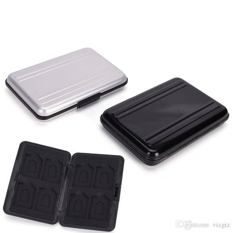 8 x SD Micro Memory Card Storage Case Holder Hard Carrying Box Black Aluminum Black