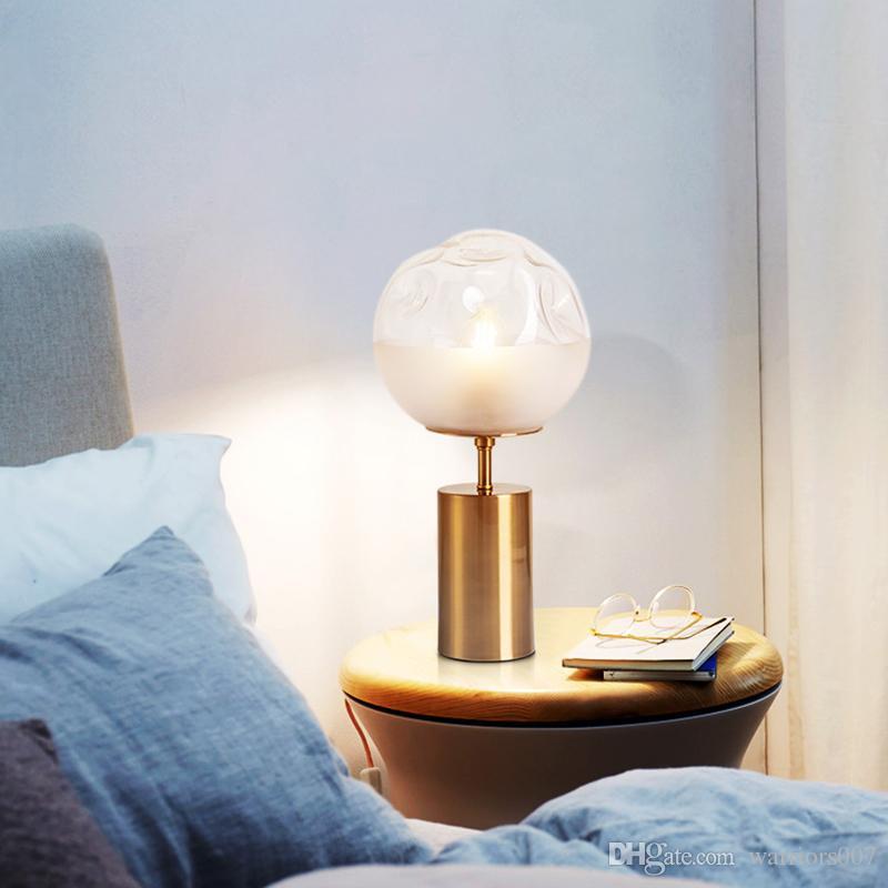 الصمام الشمال الديكور مطعم الإضاءة الأبيض التدرج زجاج طاولة الكرة مصباح مقعرة تصميم النحاس السرير E27 مصباح رئيس واحد