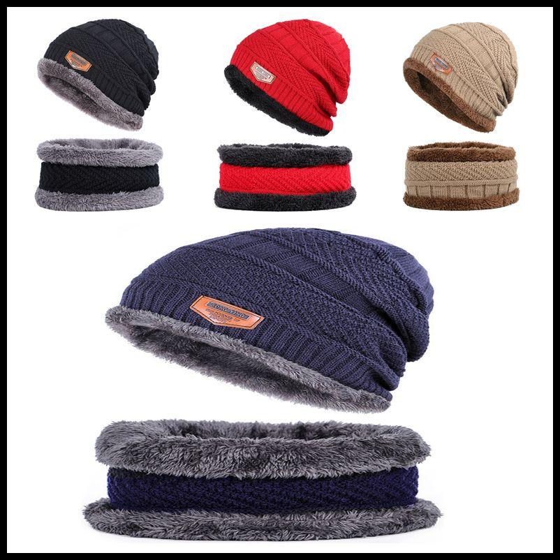 Мода зима Beanie Hat шарф набор для взрослых Популярного высокого качества Популярных Причинного Новых Теплого Knit Hat Толстый Knit Череп Cap для мужчин Женщины 6 Цвет