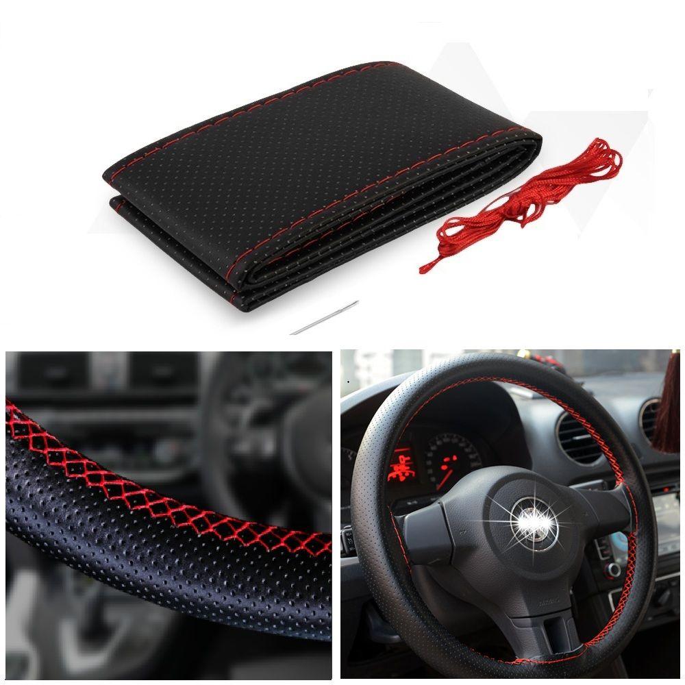 38CM Leather Car Steering Wheel Cover For Qashqai Almera Juke Tiida X-Trail Note Primera J11 Pathfinder Versa Micra