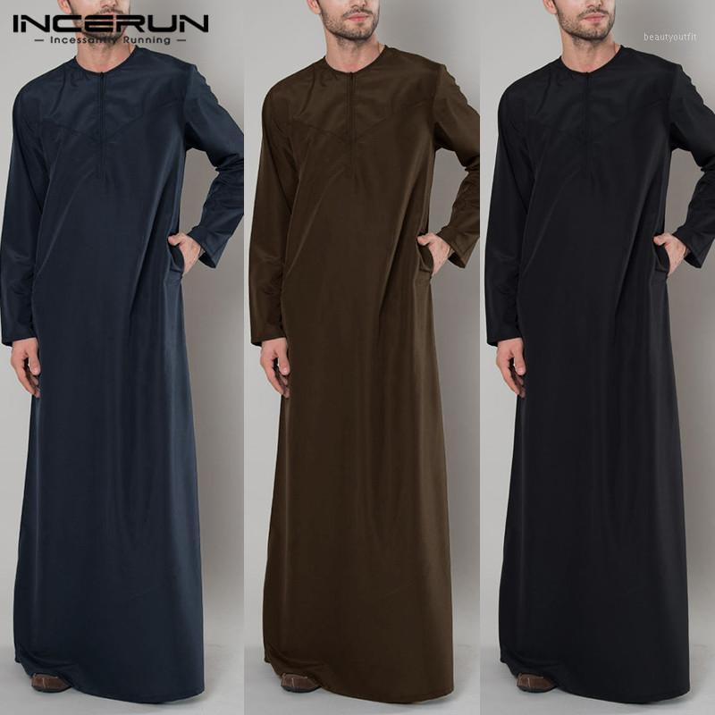 Roupas étnicas Incerun Árabe Islamic Kaftan Homens Zipper Manga Longa Color Robes Roupas Muçulmanas Abaya Arábia Saudita Arábia Thoque Vestido Caftan 2021 5xl