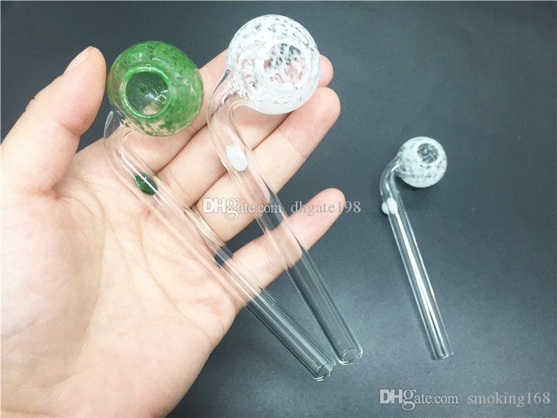 Bunte Pyrex Gebogenes Glas Ölbrenner Rohre für Raucherschneekristall Style Collection Glas Hand Ölrohrleitungen mit Balancer