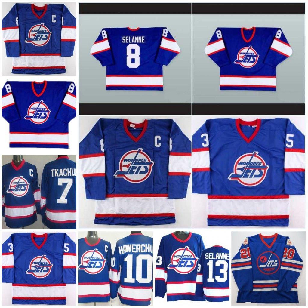 Mens 10 Dale Hawerchuk Winnipeg Jets 13 Teemu Selanne 8 Selänne azul cosido los jerseys del hockey CCM orden mezclada