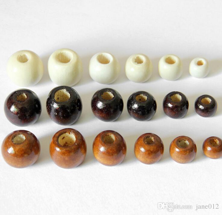 جولة الخرز حفرة كبيرة خشبية لسوار قلادة مجوهرات جعل القهوة البيضاء 10 ملليمتر 14 ملليمتر 16 ملليمتر 18 ملليمتر الخشب حبة diy مجوهرات اكسسوارات سحر