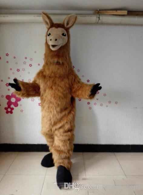 2019 heißen neuen Halloween-Lama-Maskottchen-Kostüm-Qualitäts-Karikatur Brown Camel Anime Thema Charakter Weihnachten Karneval Partei-Kostüme