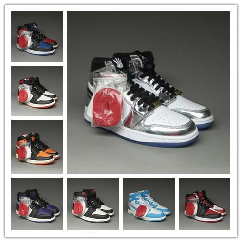 2020 1 High Bred OG Toe Chicago Banned Royal Game Basketball Chaussures Hommes Top 3 Backboard Brisé Ombre Multicolor Sneakers Taille 36-47