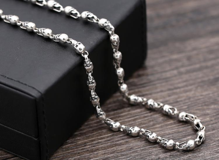 4.5mm 925 Sterling Silver Retro men's skull link biker necklace chain Jewelry gift A1486