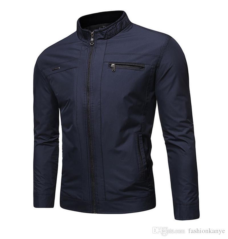 Мужская бизнес сплошной цвет куртки осень формальный стенд воротник верхняя одежда подросток молния с длинным рукавом Homme одежда