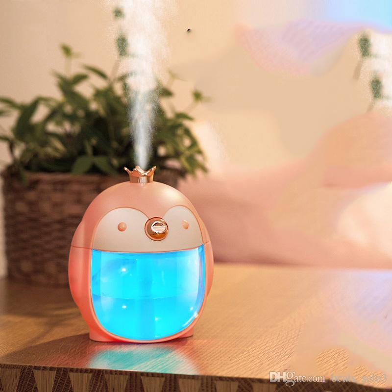 Nightlight Penguin Humidifier Humidificateur pour cadeaux créatif Ordinateur de bureau Humidificateur Aromatherapy USB monté sur véhicule
