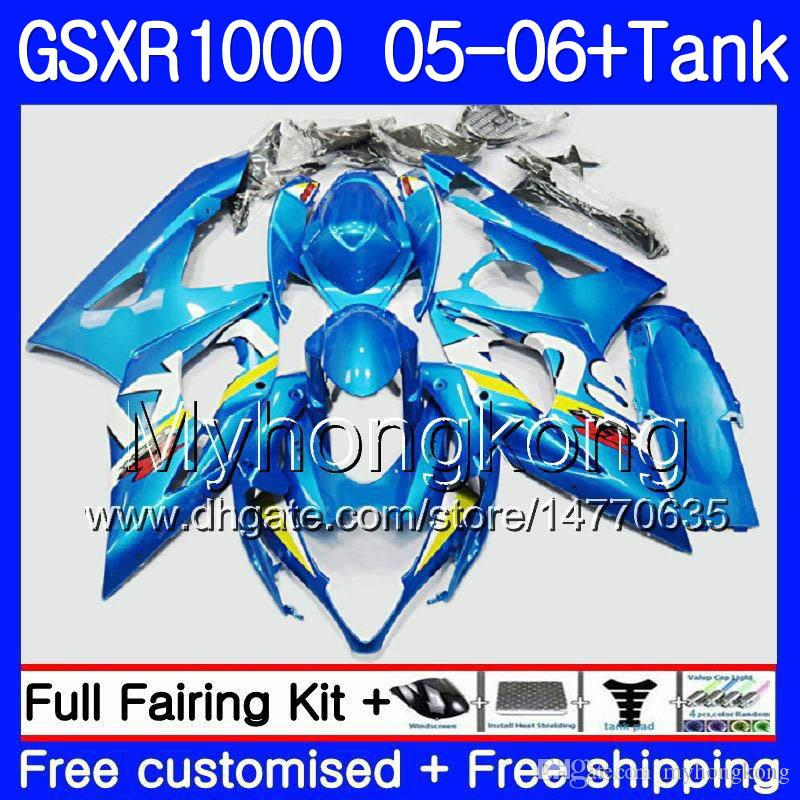 + Serbatoio per SUZUKI GSXR 1000 1000CC GSX R1000 2005 2006 Carrozzeria 300HM.58 GSX-R1000 Fabbrica blu GSXR-1000 1000 CC K5 GSXR1000 05 06 Carenatura