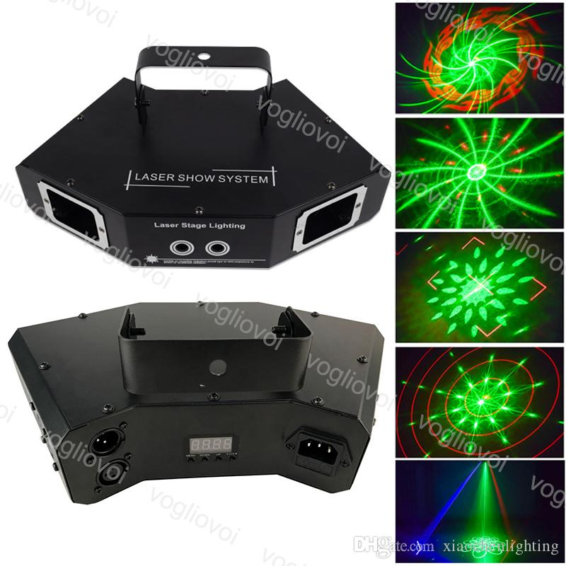 Laser Lighting 60W 4 عدسة DMX512 RGB 3D الرسوم المتحركة خط المسح الصوت تنشيط ل مرحلة داخلي ديسكو دي جي معدات DHL