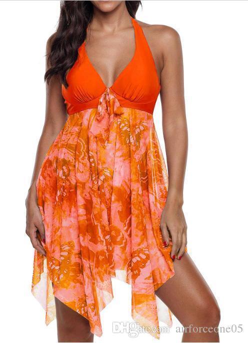إمرأة بيكيني الصيف الأزهار المطبوعة عارية الذراعين ملابس النساء مايوهات سباحة السيدات زهرة نحيل ملابس 5XL مثير 2PCS