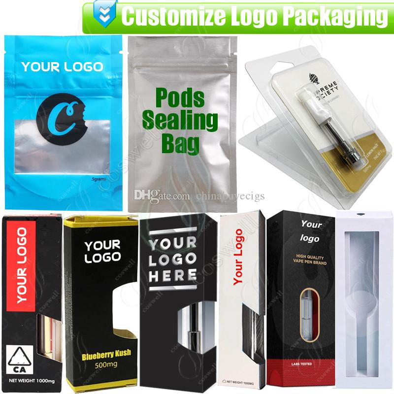Custom Packaging for Thick Oil Vapes Cartridges OEM Design Customize Paper Gift Box Blister Package Bag e cig Cigarettes Vaporizer Atomizers
