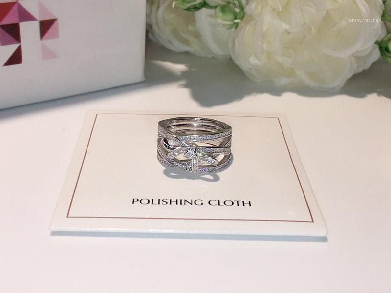 Групповые кольца Трехрядное кольцо лук кольцо ювелирные изделия S925 Стерлинговое серебро для женщин высокая рождественская вечеринка подарок1
