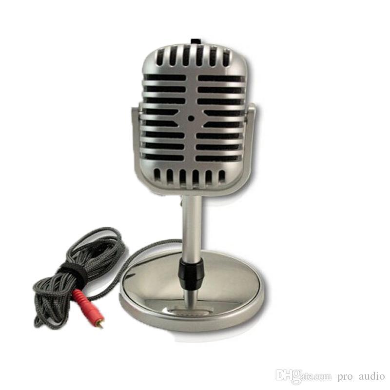 Nouveau classique vintage Rétro PC portable studio Microphone col de cygne MIC Microphone à condensateur Ordinateur argent Microphone