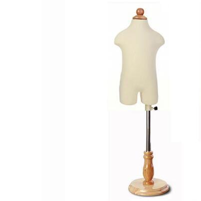 1-2 años bebé medio torso Niño maniquíes de 1pc realista con tela de vestidos flexibles de tela de base circular de madera, M00088A